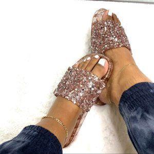 Shoes - Embellished Sparkle Slide in Rose Gold